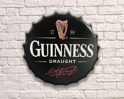 GUINNESS Vintage Retro Wall 30cm Sign Tin Metal Bottle Top Bar Beer FREE P+P • 11.50£