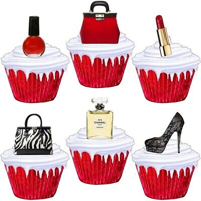 £1.99 • Buy Bling Makeup Shoes Handbag Theme Stand Up Cup Cake Toppers Edible Decorations