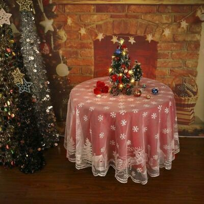 AU14.47 • Buy Christmas Tablecloth White Lace Dining Table Cloth Cover Xmas Party Home Decor