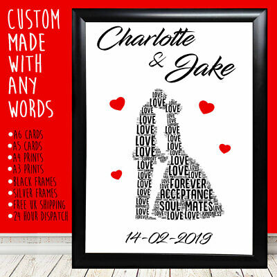 Personalised Couple Kissing Anniversary Christmas Gifts For Him Her 1st 5th 10th • 5.99£