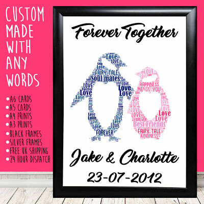 Personalised Penguins Anniversary Christmas Love Gifts For Him Her 1st 5th 10th • 5.99£