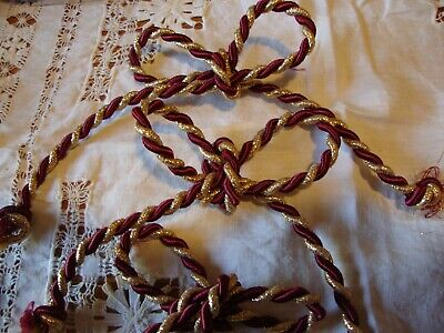 £4.35 • Buy Lot (4) Gold & Burgundy Tie Chain Table Napkin Rings Holiday Christmas Decor 223