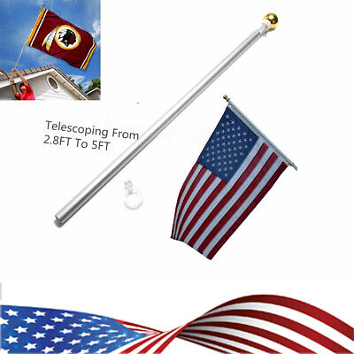 USA 3x5 Flag Pole Gold Ball Kit US 5 Ft Sectional Aluminum Flagpole US American • 13.54$