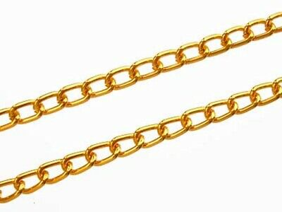 One Metre Bright Gold Aluminium Small Curb Chain - Links: 3.5 X 6mm (chn-gld) • 1£