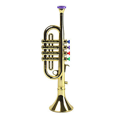 1pc Kids Trumpet Plastic W/ 3 Colored Keys For Music Education Toy Golden • 12.02£