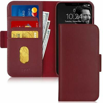 For IPhone 11 Wallet Case Genuine Leather Flip Cover RFID Blocking Card Slot Red • 41.01£