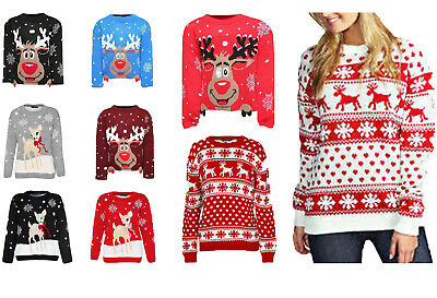 Boys Girls Kids Xmas Jumper Rudolph Reindeer Snowflakes Bambi Christmas Jumpers • 9.99£