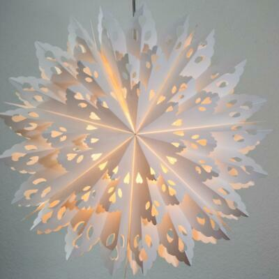 24  White Winter Wreath Snowflake Paper Star Lantern, Hanging Decoration • 22.72$
