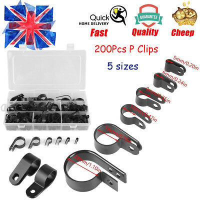 £10.69 • Buy 200X Black Nylon Plastic P Fasteners Clips Clamps Assorted Box For Cable Conduit