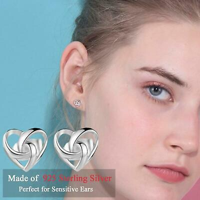 Dainty 925 Sterling Silver Plated Twisted Celtic Love Heart Knot Stud Earrings • 3.99£