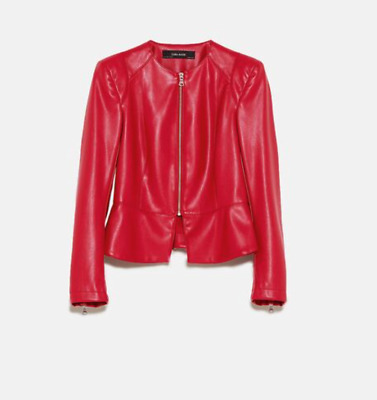 $26.24 • Buy ZARA Basic Faux Leather Jacket With Shoulder Pads
