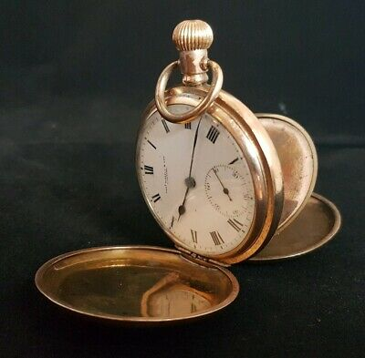 Beautiful Antique Gold Plated Full Hunter Pocket Watch By Thomas Russell & Son • 299.99£