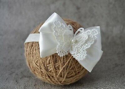 £6.45 • Buy Ivory Baby Bow Hair Band For Baptism Christening Satin Butterfly Bow Handmade UK
