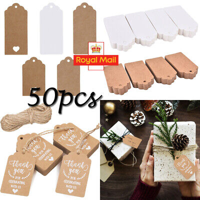 50X Kraft Paper Gift Tags String Crafts Price Tag Christmas Tree Hanging Decor • 1.96£