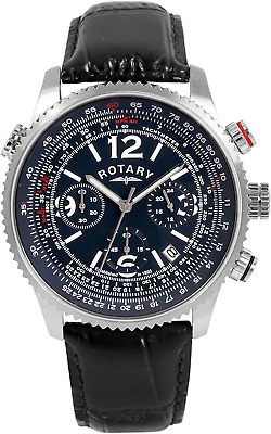 Rotary Men's Quartz Watch With Blue Dial Chronograph Display And Black Leather S • 140£