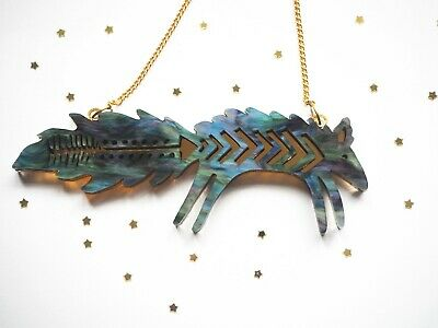 Galaxy Fox Necklace Metallic Acrylic Laser Cut On A Gold Plated Chain • 25£