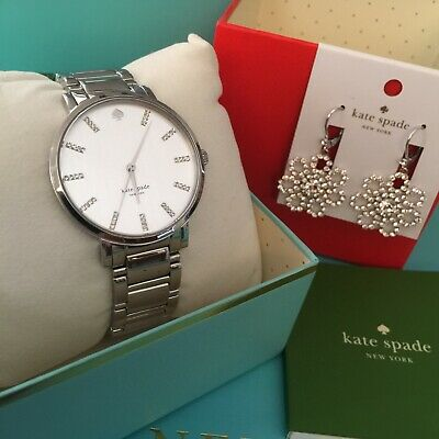 $ CDN174.19 • Buy Kate Spade Gramercy Grand Bracelet Watch Silvertone + Crystal Lace Earrings Lot
