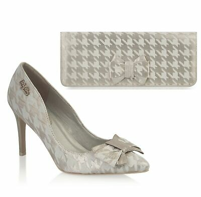 Ruby Shoo Pointed Jenna Shoes & Matching Madrid Bag Gold Cream Coral Or Pewter • 75£
