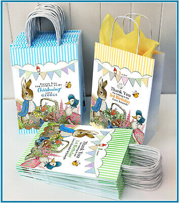 Peter Rabbit Personalised Party Gift Bag: Birthday, Christening, Baby Shower • 1.20£