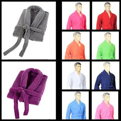 Uni Sex Winter Bathrobes Shawl Collar Cotton Terry Toweling Dressing Gown Gift • 12.95£