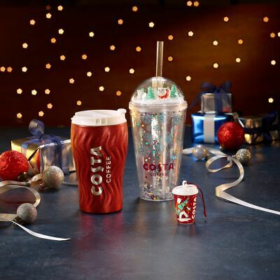 £9.99 • Buy Costa Coffee Cups Christmas Collapsible Tall Mug Flask Glitter Recycled Bottle