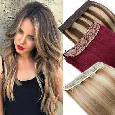 £92.88 • Buy One Piece Wire In Hidden Crown Remy Human Hair Extensions Line Micro Ring Thick