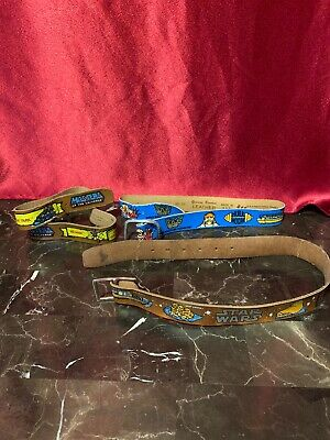 $35 • Buy Lot Of 3 Vintage Genuine Bonded Youth Leather Character Belts Preowned