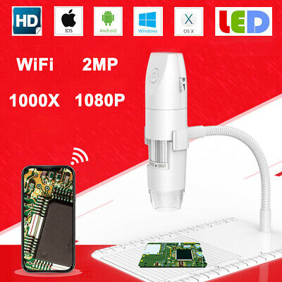 WiFi HD 1080P 8LED 1000X Digital Microscope Magnifier Camera USB For Android IOS • 12.95£