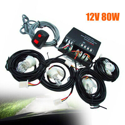 $45.15 • Buy 80W 4 LED HID Bulbs Hide-a-way Emergency Warning Strobe Light Headlight System