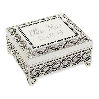 Personalised Art Deco Style Trinket/Jewellery Box Floral Pattern - Engraved • 16.90£