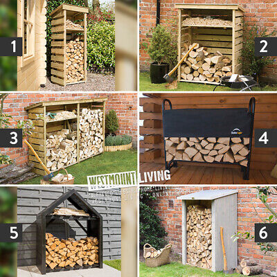 Wooden Log Store Rack Outdoor Garden Fire Wood Storage Logs Shed 6 Styles Sizes • 124£