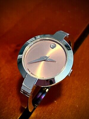 $275 • Buy Movado Silver Bela Stainless Steel Pink Dial Bangle 0606596 Watch