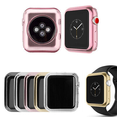 $ CDN6.29 • Buy For Apple Watch Series 5 4 3 2 Plated TPU Watch Case Cover Frame Protector Skin