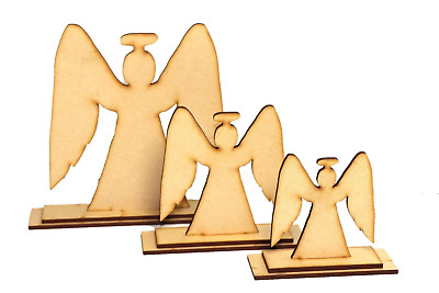 Wooden MDF 3D Christmas Angel Decorate Yourself Shapes Craft Free Standing Decor • 2.99£