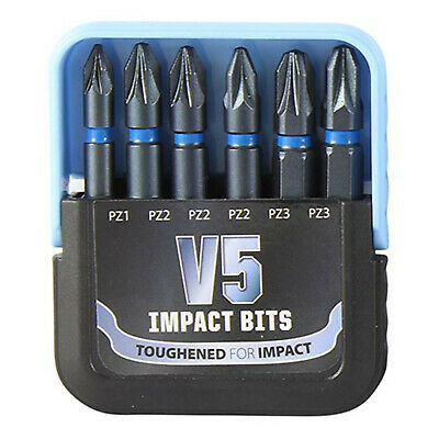 V5 Impact Drill Bits Set PZ1 PZ2 PZ3 Screwdriver Insert Bit 50mm Recess AV5 • 6.99£