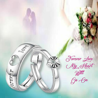 £2.99 • Buy Elegant Couple Wedding Rings Forever Love Heart CZ 925 Sterling Silver Plated