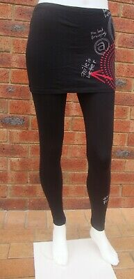 Desigual Black Cotton Stretch Leggings With Skirt NWOT Sizes S M L XL • 16.91£