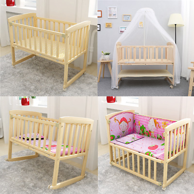 Baby Bed Side Crib Nursery Next To Mum Next Bed From Birth Cot +mattress • 59.85£