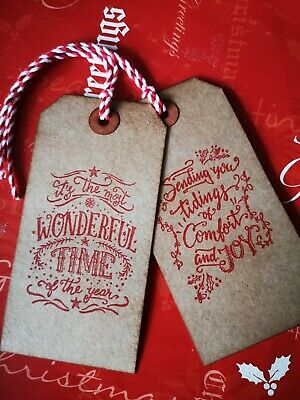 10 Christmas Vintage Rustic Most Wonderful Time Xmas Gift Tags Labels With Ties • 2£