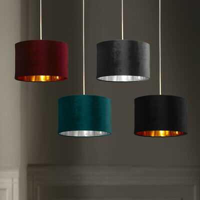 £22.99 • Buy Soft Velvet Light Shades With Metallic Linings Table And Pendant Drum Shades