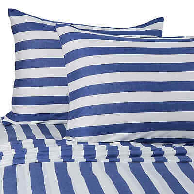 Pure Beech Jersey Knit TWIN/XL Sheet Set Navy White Stripes 100% Modal Natural • 59.95$