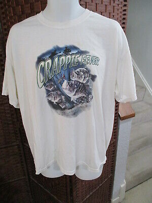 $ CDN15 • Buy Vintage 1990's Crappie Fever Fishing Novelty T Shirt Adult XL 50/50
