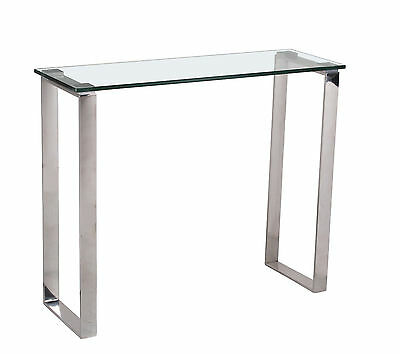 Console Table Hall Table Display Stand Clear Glass Stainless Steel Leg Rectangle • 99.99£