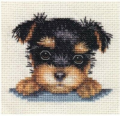 YORKSHIRE TERRIER PUP Dog ~ Full Counted Cross Stitch Kit + All Materials *Fido • 8.50£