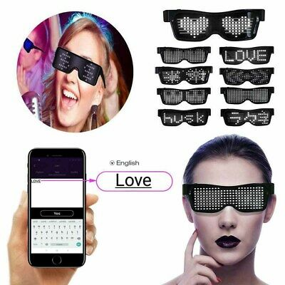 Customizable LED Light Up Glasses App Control DIY Flashing Display Messages UK • 12.38£