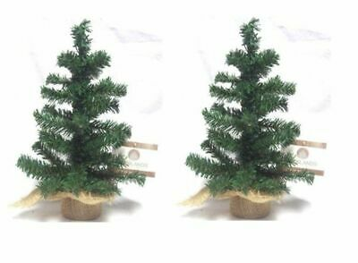 2 X Mini Table Top Centerpiece Artificial Christmas Tree With Hessian Base 60CM • 8.99£