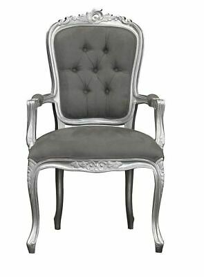 French Louis XV Armchair  - Silver With Brushed Grey Satin  Elise Chair • 195£