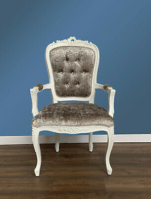 French Louis XV Elise Armchair  - French White  With Brushed Grey Velvet  • 195£