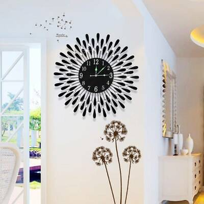 AU49.99 • Buy Large Modern 3D Crystal Wall Clock Luxury Round Dial Black Drops Home Office Dec