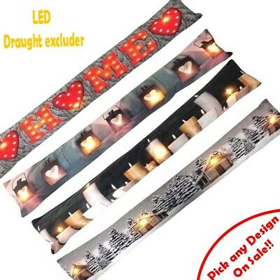 LED Draft Excluder Cushion Door Insulation White Noise And Sound ExcluderS • 11.99£